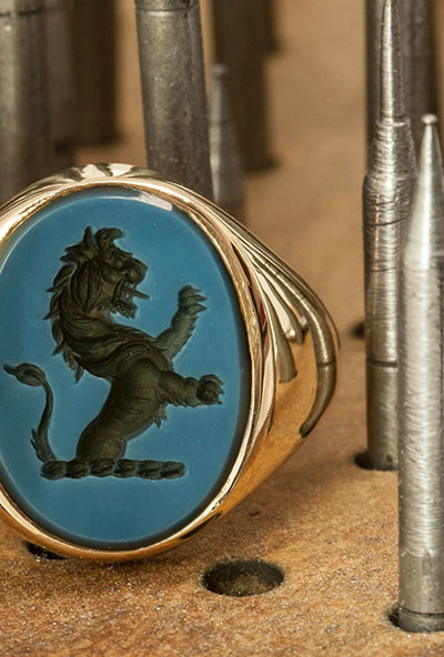 Blue Sardonyx Custom Bespoke Signet Ring Seal Engraved With Demi Lion Rampant Heraldic Crest