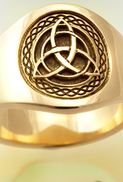 Celtic Knot Trinity Custom Bespoke Cigar Band Ring