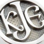 Celtic Monogram Elevated Engraved on a White Gold Ring