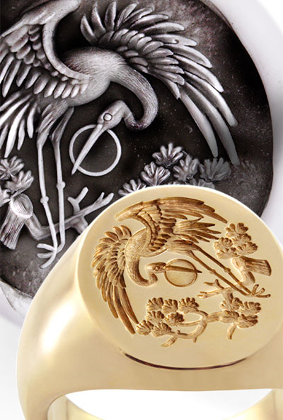 Chinese Crane Signet Ring Engraved from a Traditional Design