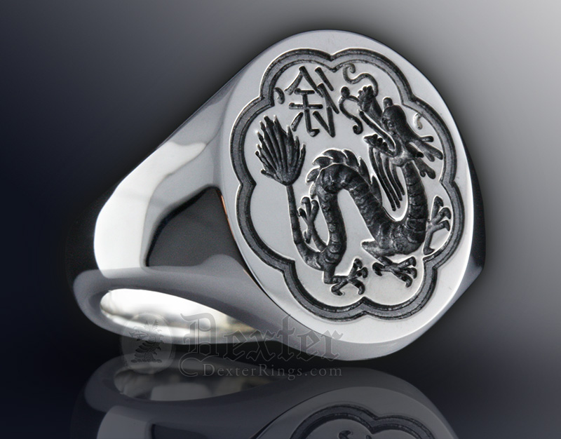 Custom Bespoke Chinese Dragon Good Luck Gold Signet Ring