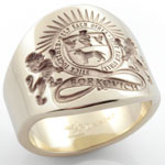 Plain gold 'cigar' band engraved with a custom coat of arms
