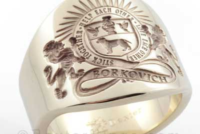 Plain gold Custom Bespoke 'cigar' band signet ring