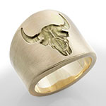 Extra Broad Cigar Band Ring - Dead Head Skull