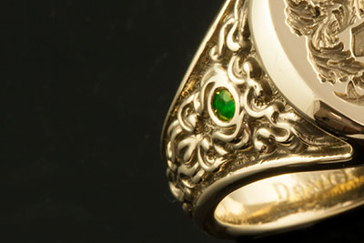 Emerald set into one of our ornate 'Sculptural Signet Ring'