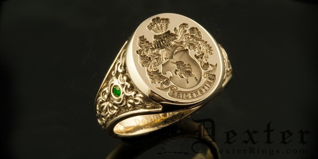 Custom Bespoke Signet Ring With Emerald Set Ornate Shoulder