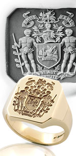 Octagonal Ring with Bespoke Coat of Arms with Supporters