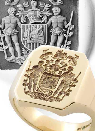 Octagonal Ring with Bespoke Coat of Arms
