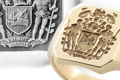Octagonal Signet Ring with Bespoke Heraldic Coat of Arms with Supporters