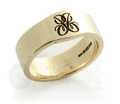 Super Mini Cigar Band Ring engraved with a cypher