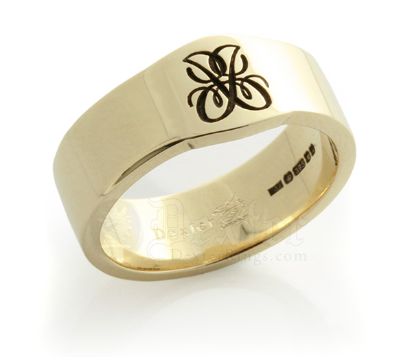 Gold Mini Cigar Band with a Monogram Custom Bespoke Wedding Band