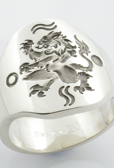 Cushion Ring - Gothic Rampant Lion Personalised with Symbols