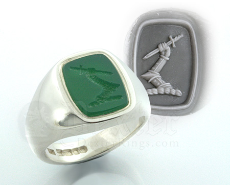 Green Agate Crest Signet Ring