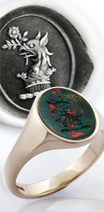 Griffins head collared with a ducal coronet crest on bloodstone ring