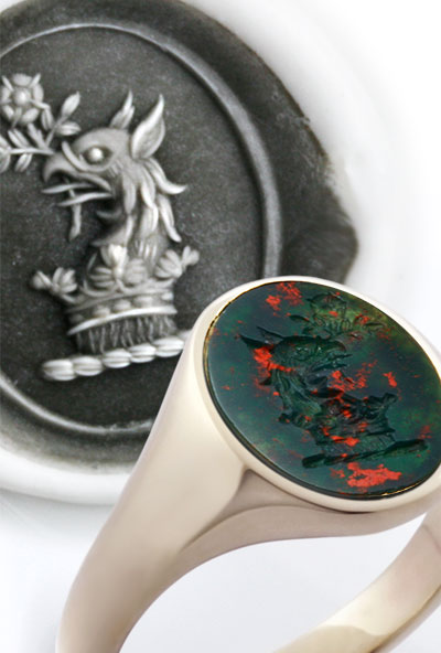Griffin Crest Bloodstone Ring