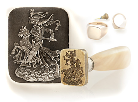 Knight in Battle Armour Engraved On Clients Own Desk Seal