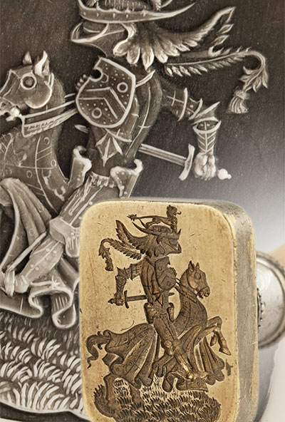 Knight in Battle Armour Engraved On a Desk Seal