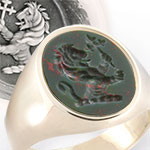 Lion Crest Engraved onto a Bloodstone