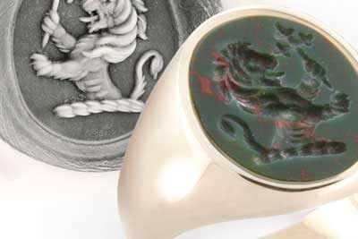 Lion crest on bloodstone