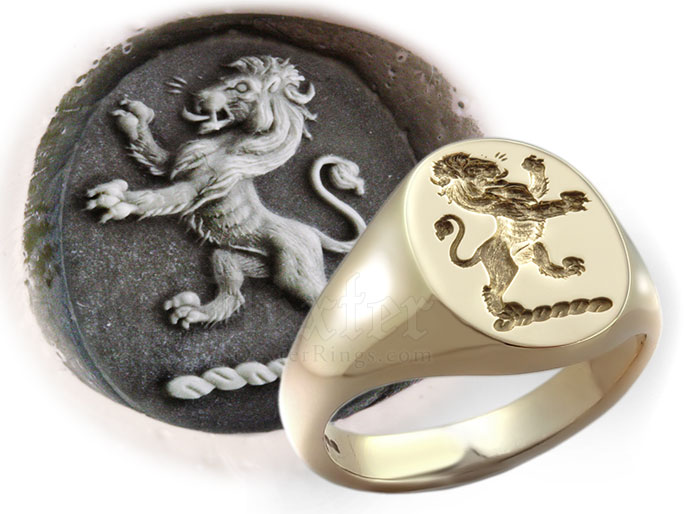 Seal Engraved Example Signet Ring With Lion Rampant Traditional Crest