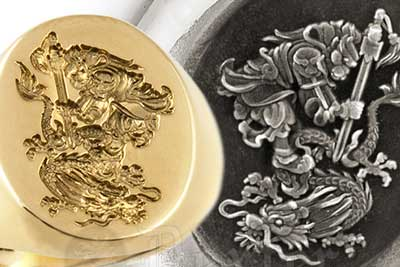 Sun Wukong the Monkey King & Chinese Dragon Ring