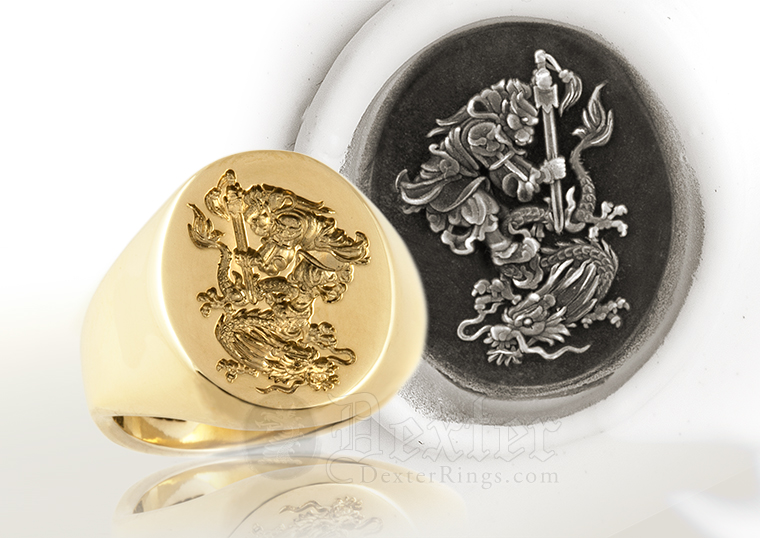 Sun Wukong the Monkey King & Chinese Dragon Custom Bespoke Signet Ring