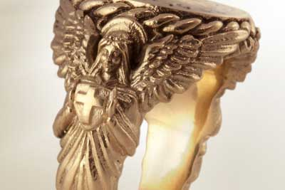 Bespoke Ornate Shouldered Sculptural Ring Carved with an Angel