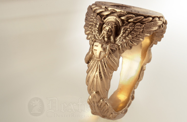 Bespoke Ornate Sculptural Signet Ring Carved with an Angel