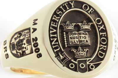 Oxford University Elevated Style Ring Showing Degrees on Each Shoulder