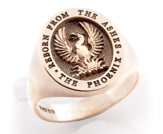 Phoenix rising from the flames red gold signet ring