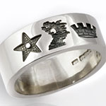 Platinum Wedding Band Engraved with 3 Crests