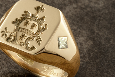 Custom Bespoke Signet Ring Engraved with Ornate Heraldic Shield & Princess Cut Diamonds