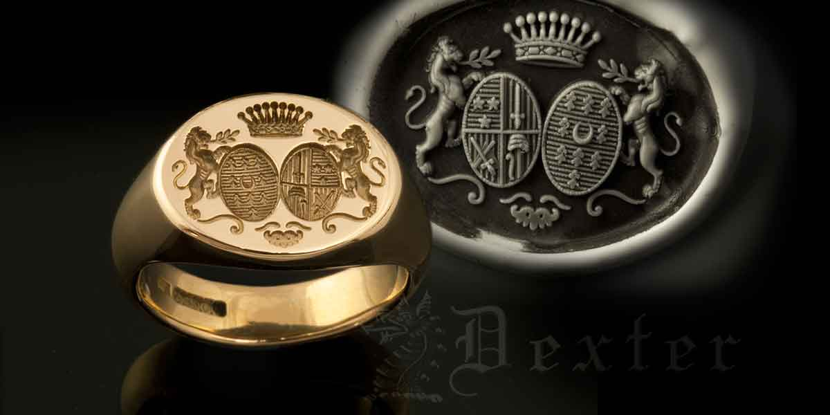 Reverse Oval Signet Ring with Two Family shields