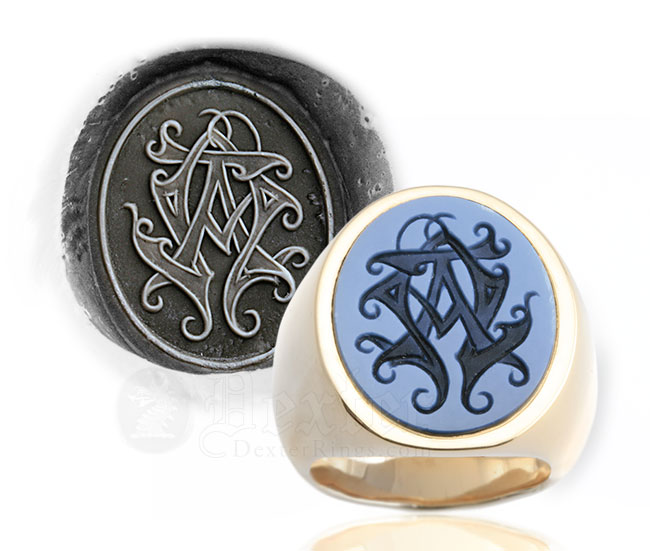 Monogramed Sardonyx Signet Ring - Cypher / Traditional