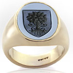 Blue sardonyx stone ring engraved with an heraldic shield charged with a tree