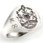 Silver Indian Coat of Arms Ring for Singh Family
