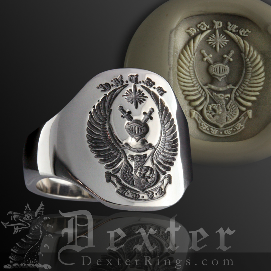 Made up 'Coat of Arms' Style Design - Wedding Cigar Band Seal Engraved Example