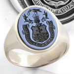 Seal Engraved Example: Sardonyx Gemstone Ring - Engraved With a Coat of Arms