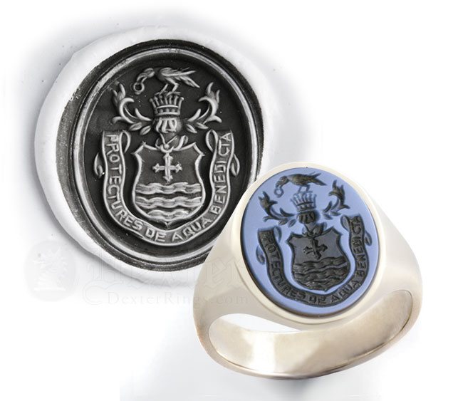 Sardonyx Gemstone Ring - Engraved With a Coat of Arms