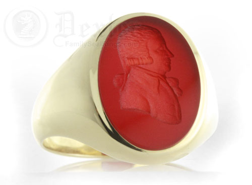 Cornelian Gemstone Signet Ring Engraved from a Portrait
