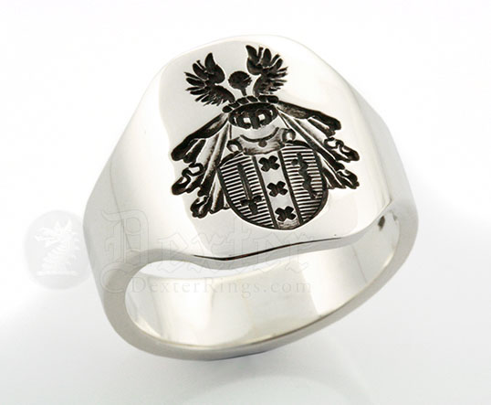 Heraldic Coat of Arms Cigar Band Style Ring