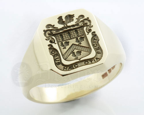 Octagonal Signet Ring Seal Engraved with an Heraldic Coat of Arms