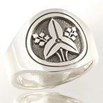 Japanese Mon crest ring engraved in sterling silver