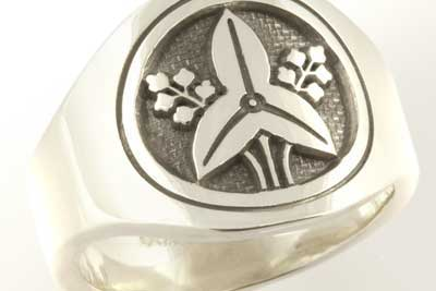Japanese Mon 'Crest' Custom Bespoke Signet Ring Engraved In Sterling Silver