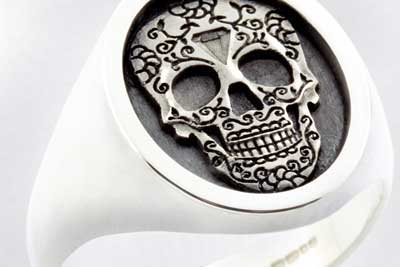 Mexican Day of the Dead Festival Elevated Engraved on a Signet Ring