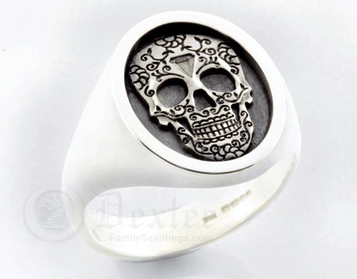 Mexican Day of the Dead Festival Engraved on a Silver Signet Ring