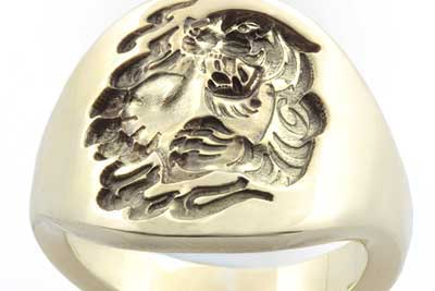 'Contemporary Signet Ring' - Engraved with a Custom Bespoke Chinese Tiger & Heart