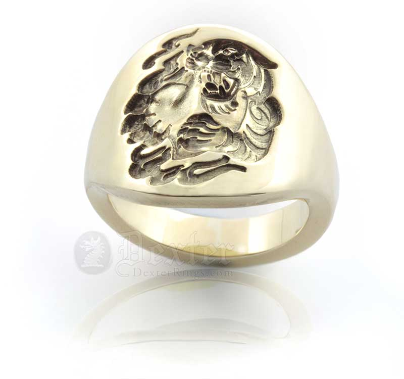 Contemporary Signet Ring - Engraved with a Custom Bespoke Chinese Tiger & Heart