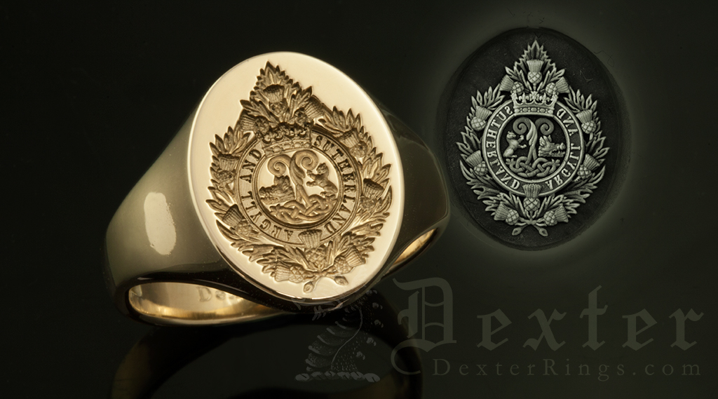 Argyll & Sutherland Military Regiment Badge Signet Ring