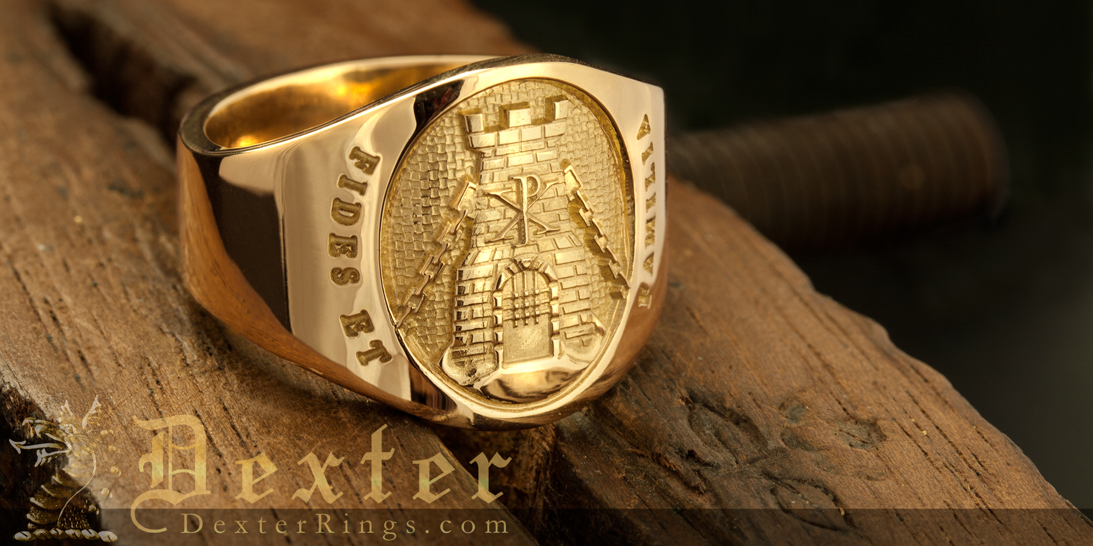 Cigar Band Signet Ring Engraved Turret Chi Ro Fides Et Familia